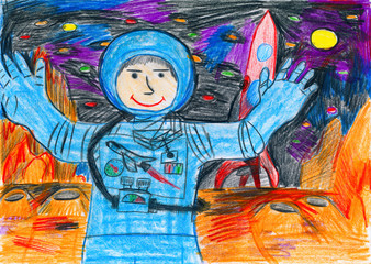 Astronaut exploring the red planet, space concept, child drawing on paper