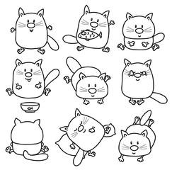 Vector cute cats cartoons isolated.