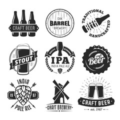 Vector craft beer badges. Set of vintage craft beer logos and labels.