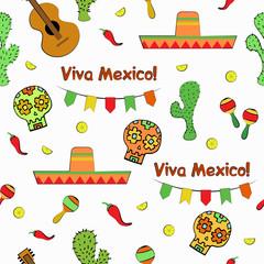 Viva Mexico Cinco de Mayo seamless pattern. Vector illustration