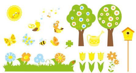 set of cute cartoon nature objects : flowers, singing birds, flying, butterflies, bee, blooming trees, birdhouse,  / collection of vectors for children