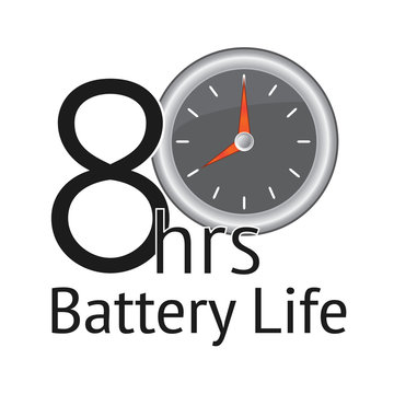 8 hours Battery Life banner with white background