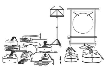 2d cartoon illustration of musical instruments