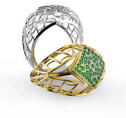 Rings with diamond and pave. 3D illustration