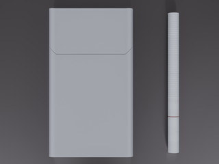 Closed pack of cigarettes  on grey  background