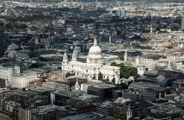 aerial view with st. Paul's cathedral London, UK