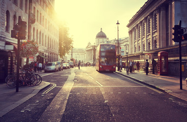 sunset near Trafalgar square, London, UK