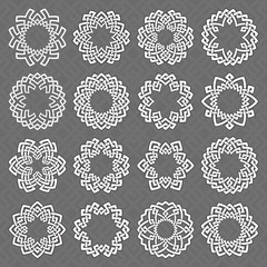 Set of round frames. Sixteen hexagonal decorative elements with stripes braiding for your logo or monogram design. Mandalas collection of white lines with black strokes on gray background.