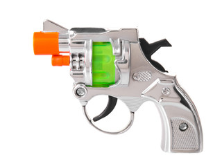 Mini toy gun side view isolated on white background