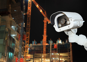 CCTV with Blurring Building construction background.