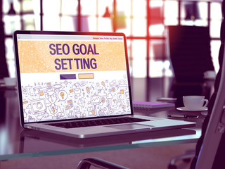 SEO - Search Engine Optimization - Goal Setting Concept. Closeup Landing Page on Laptop Screen in Doodle Design Style. On Background of Comfortable Working Place. Blurred, Toned Image. 3D Render.