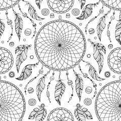 Hand drawn boho seamless pattern with dream catcher and beads