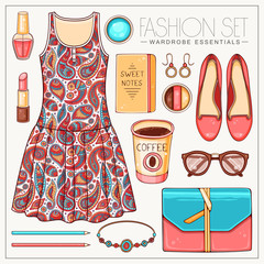 Fashion woman's casual outfit with paisley dress