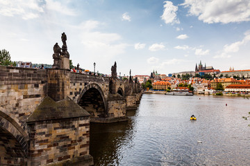 PRAGUE, CZECH REPUBLIC - JULY 18: View to the Vltava River from