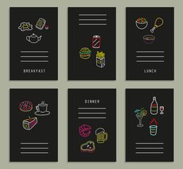 Six cards with neon icons of food and drinks. Vector. Isolated