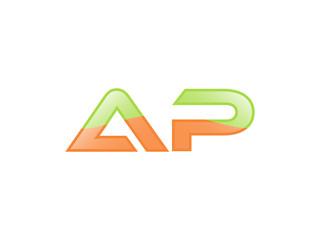 Green Orange shiny AP letters