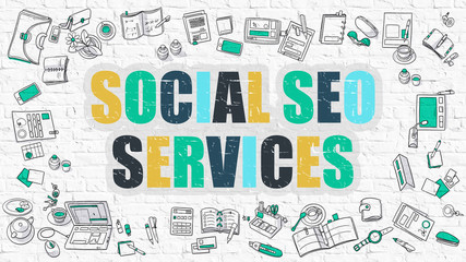 Social SEO Services - Multicolor Concept with Doodle Icons Around on White Brick Wall Background. Modern Illustration with Elements of Doodle Design Style.