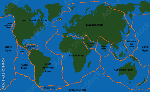 Plate Tectonics World Map With Fault Lines Of Major An Minor - Plates map