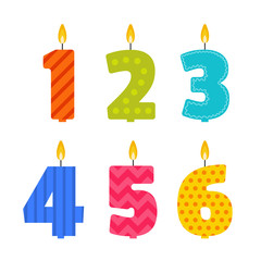 Vector flat design birthday candle set in the shape of numbers 1, 2, 3, 4, 5, 6. Burning colorful candles with different festive patterns in flat style. For anniversary party invitation, decoration.