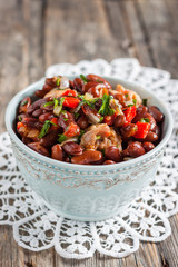 red bean stew in tomato sauce with sausage