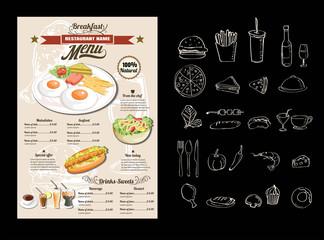 Vintage Poster. Breakfast menu.vector format eps 10