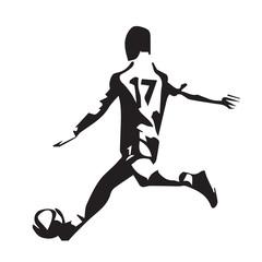 Soccer player vector silhouette, running man kicking ball, footb