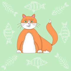 Vector illustration red fat smiling cat isolated on green background with fish and skeletons