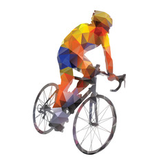 Cycling. Abstract geometrical vector road cyclist on his bike
