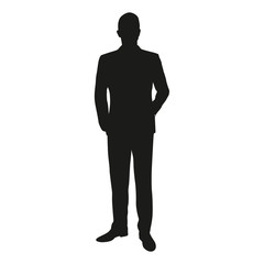 Vector silhouette of a man standing in a suit at the lecture. Bu