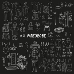 Wardrobe. Doodle set with hand drawn collection of trendy clothes and accessories for man. Look Book. Isolated.