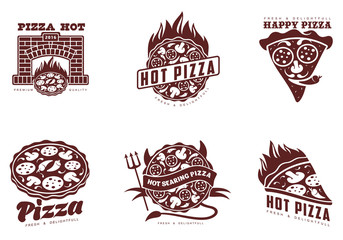 Logos pizza, fast food, vector monochrome badges pizza, pizza with mushrooms, salami, in the oven, slice of pizza with peppers, hot Italian fast food, labels for food products, cafe, restaurant