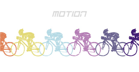 Cyclists in motion. Doodle. Vector. Isolated