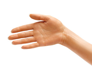 Woman's Hand the outstretched in greeting isolated on white background. High resolution product. Close up