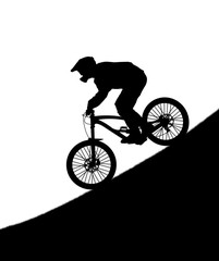 Silhouette of the cyclist on downhill bike isolated on white background