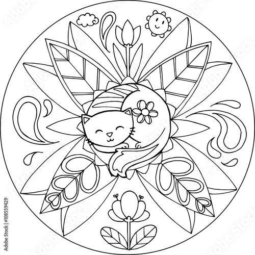 coloring cat with flowers and leaves vector animal