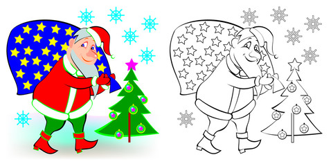 Colorful and black and white pattern Santa Claus, vector cartoon image.
