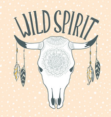 Cow Skull with Feathers isolated on pink background. Boho style. Vector Element for your design. Hand drawn illustration.