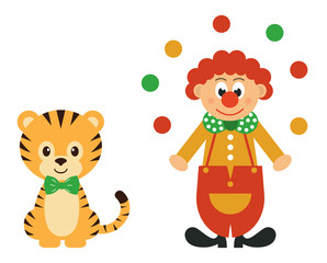 tiger and clown with balls