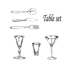 Set of glasses, fork, spoon and knife. Hand drawn vector illustration. Sketch drawn by ink.