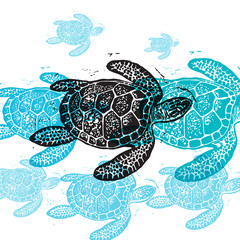 Vector Sea Turtle in abstract composition.