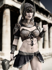Female Goddess of war posing in front of Greek architecture with black and white tint . Photo realistic 3d model scene.