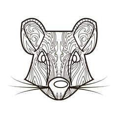 Line vector image for art therapy with rat