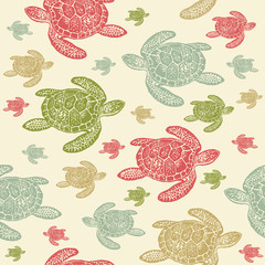 Sea Turtles colourful seamless vector pattern.