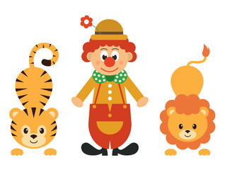 cartoon tiger and clown and lion