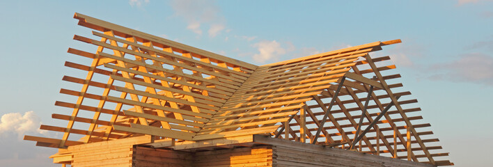 Timber house under constructoin - roof frame