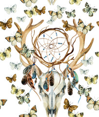 Deer skull seamless pattern. Animal skull with dreamcather and butterfly.