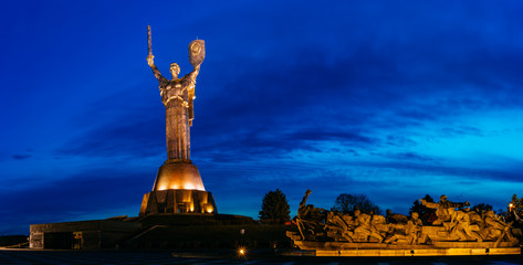 Mother Motherland monument and Memorial sculpture in Kiev