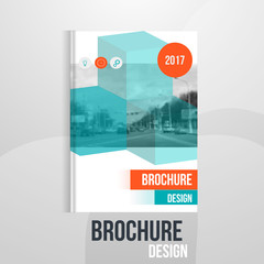 Vector brochure cover template with blured city landscape. Business brochure cover design, flyer brochure cover, professional corporate brochure  cover.