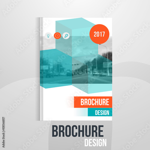 Vector Brochure Cover Template With Blured City Landscape Business