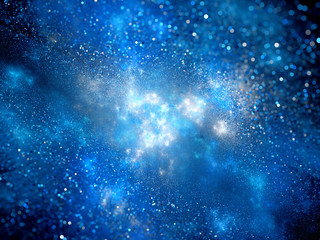 Blue nebula with particles